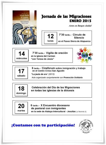 Programa de actos en Burgos Día Migraciones 2015